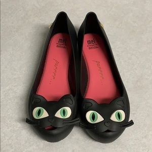 Mini Melissa Cat Shoes, Black, Size 4.
